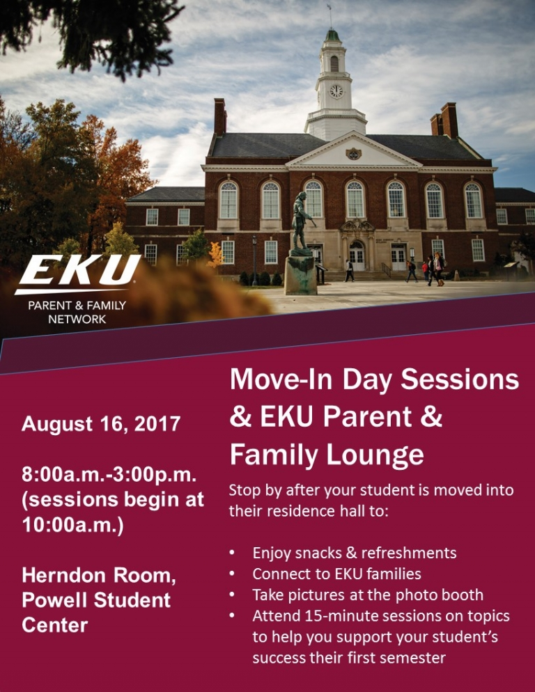 Move-In Day Sessions & EKU Parent & Family Lounge, August 16, 2017