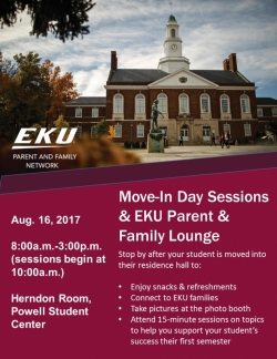 2017 Move-In Day Sessions & EKU Parent & Family Lounge